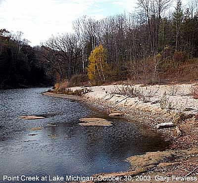 Point Creek at Lake Michigan, photo by Gary Fewless